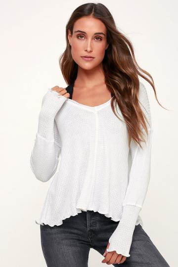 Lucy Love Comfort Zone White Long Sleeve Thermal Top   Lulus