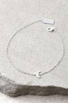 Lulus Moon Landing Sterling Silver Rhinestone Moon Choker Necklace