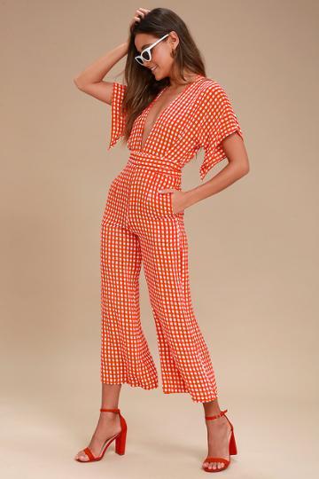 Faithfull The Brand Cedric Red Gingham Culotte Jumpsuit   Lulus