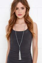 Lulu*s Can't Be Bead Grey Tassel Necklace