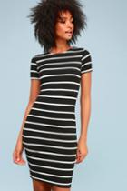 Drop Me A Line Black And White Striped Bodycon Dress | Lulus
