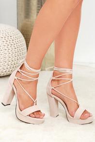 Lulus I Slay Nude Suede Lace-up Platform Heels