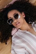 Hanna Gold And Green Square Sunglasses | Lulus