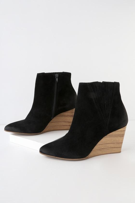 Rebels Nanda Black Suede Leather Wedge Ankle Booties | Lulus