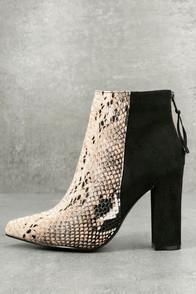 St. Sana Tiffany Nude And Black Snake Print Ankle Booties