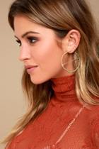 Lulus Roll On Gold Engraved Hoop Earrings