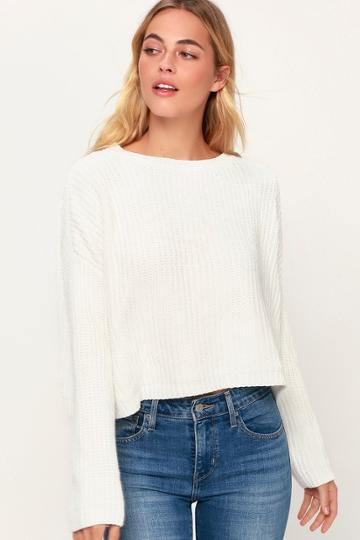 Blank Nyc Malia White Chenille Backless Sweater | Lulus