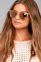 Le Specs Halfmoon Magic Peach And Yellow Mirrored Sunglasses