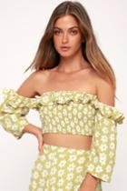 Faithfull The Brand Sybil Washed Green Floral Print Off-the-shoulder Crop Top | Lulus