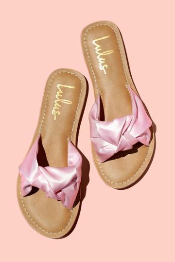 Makenzie Blush Satin Slide Sandal Heels | Lulus