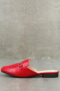 Qupid Pippin Red Loafer Slides
