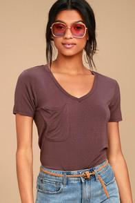 Z Supply Selene Washed Plum Purple Tee