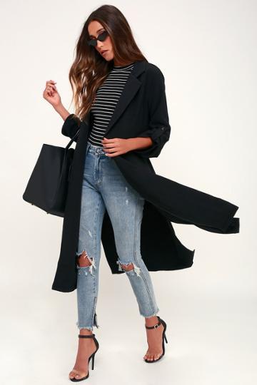 Lush Kathryn Black Three-quarter Sleeve Trench Coat   Lulus