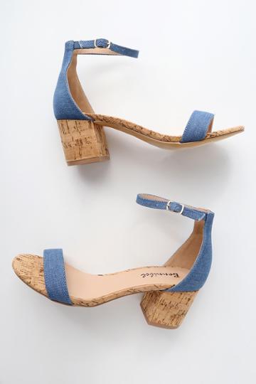 Bonnibel Brooke Blue Cork Ankle Strap Heels | Lulus