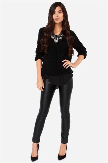 Blank Nyc Juke Box Black Vegan Leather Skinny Pants | Lulus