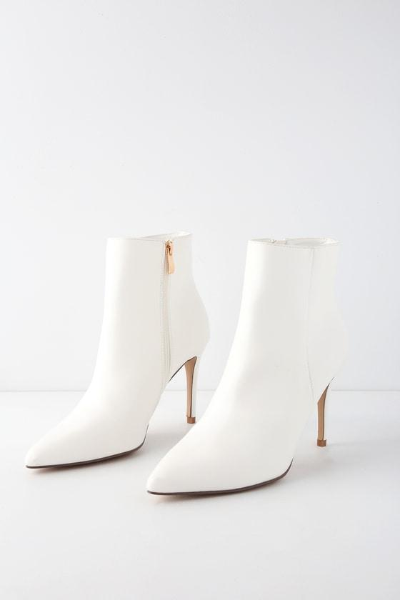 Selenah White Pointed Toe Ankle Booties | Lulus