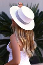 Yvette White Woven Boater Hat | Lulus