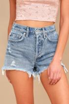 Agolde Parker Light Wash Distressed High-waisted Shorts | Lulus