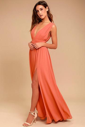 Heavenly Hues Rusty Rose Maxi Dress   Lulus