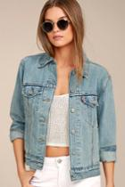 Levi's Ex Boyfriend Trucker Light Wash Distressed Denim Jacket | Lulus