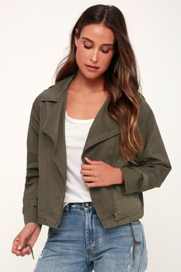 Others Follow Loaded Olive Green Moto Jacket   Lulus