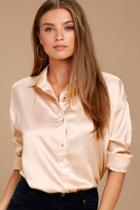 Lulus Sheen On Me Blush Satin Button-up Top