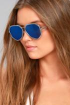 Lulus | Hello Hot Stuff Silver And Blue Sunglasses