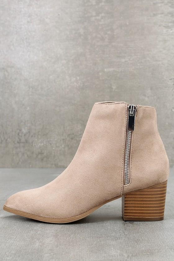Illusion Taupe Suede Pointed Ankle Booties | Lulus