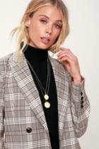 Caia Brushed Gold Layered Circle Necklace | Lulus