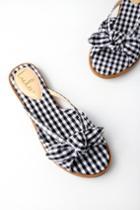 Delilah Black Gingham Knotted Slide Sandal Heels | Lulus