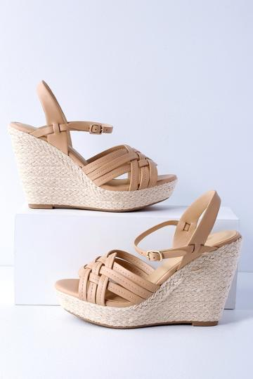 City Classified Amber Nude Espadrille Wedges | Lulus