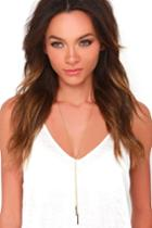 Lulus | Bar And Away Gold Lariat Necklace