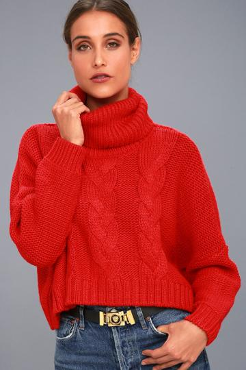 Jack By Bb Dakota | Hobie Red Cable Knit Cowl Neck Cropped Sweater | Size X-small | Lulus