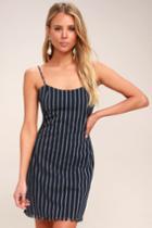 Rising Tide Navy Blue Striped Mini Dress | Lulus