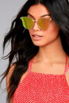 Lulus | Modern Twist Rose Gold And Pink Mirrored Sunglasses