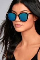 Lulus | Style For Miles Black And Blue Mirrored Sunglasses