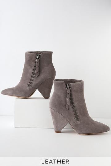 Splendid Neva Charcoal Genuine Suede Leather Ankle Booties   Lulus