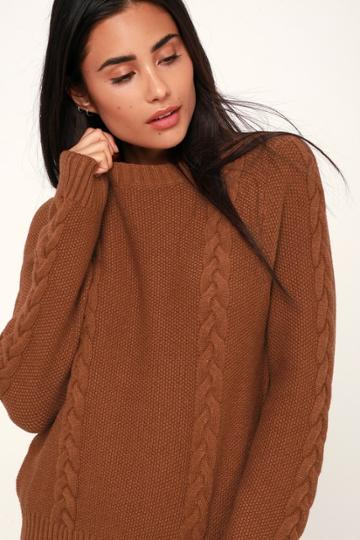 Keep It Toasty Brown Cable Knit Sweater | Lulus