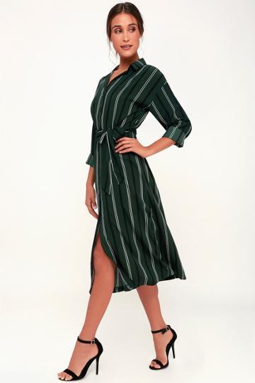 Lush Good News Dark Green Striped Midi Shirt Dress   Lulus