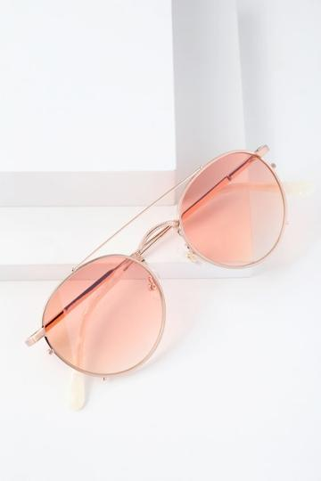 Crap Eyewear The Tuff Safari Peach And Rose Gold Sunglasses | Lulus