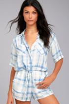 O'neill | Maura Blue Print Romper | Size Large | Lulus
