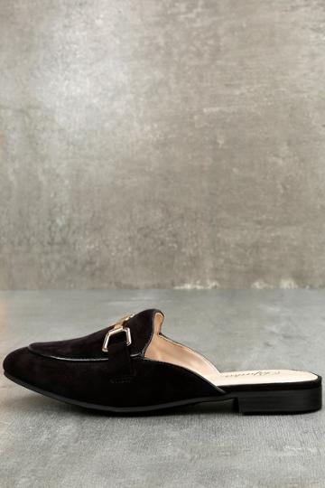 Paprika Eliza Black Suede Loafer Slides | Lulus