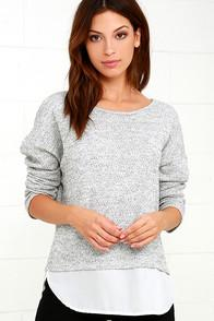 Lulus Keep Me Company Grey Sweater Top