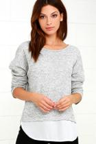 Lulus Keep Me Company Grey Sweater Top