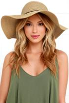 Lulus | Sunny Street Tan Floppy Straw Hat | Beige