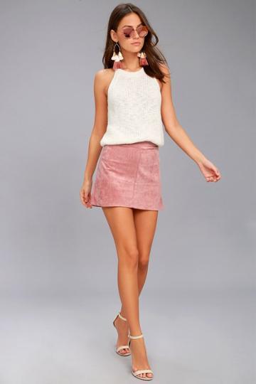 Shenandoah Mauve Suede Mini Skirt   Lulus
