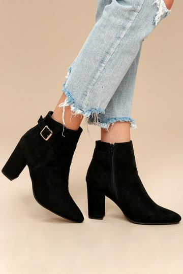 Bamboo Neva Black Suede Pointed Toe Ankle Booties | Lulus