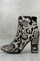 Mia Rosebud Black Brocade Ankle Booties   Lulus