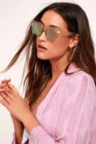New York, New York Beige And Pink Mirrored Square Sunglasses | Lulus