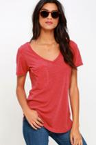 Z Supply Pleasant Surprise Washed Red Tee | Lulus